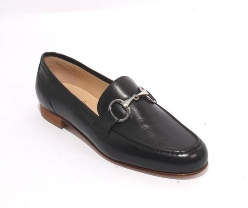 Dark Navy Leather Slip On Flats Oxfords Shoes