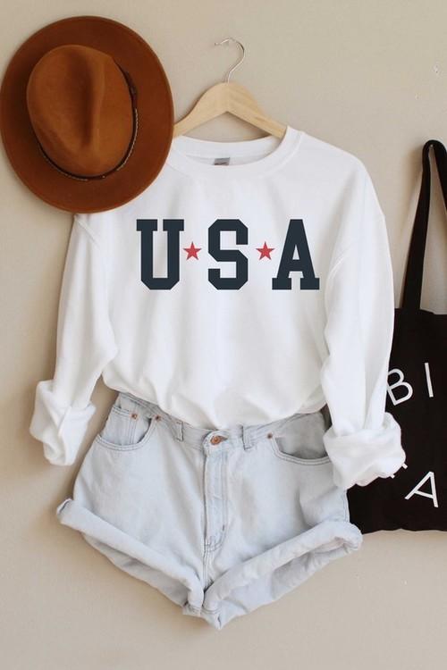 USA Star Graphic Sweatshirt White