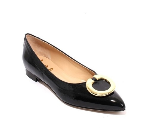 Navy Gold Patent Leather Classic Pointy Flat Shoe