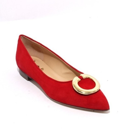 Red Gold Suede Leather Classic Pointy Flat Shoes