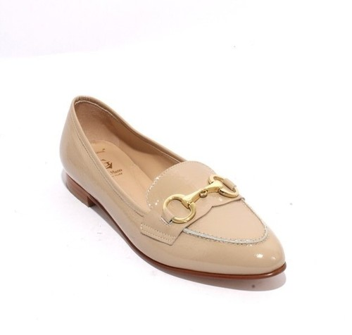 Beige Gold Patent Leather Classic Pointy Flat Shoe