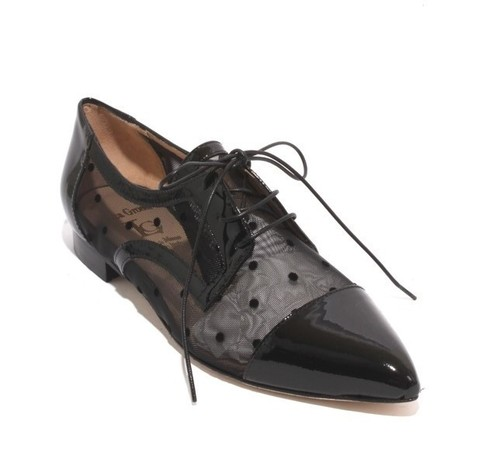 Black Patent Leather Mesh Lace-Up Pointy Flat Shoe