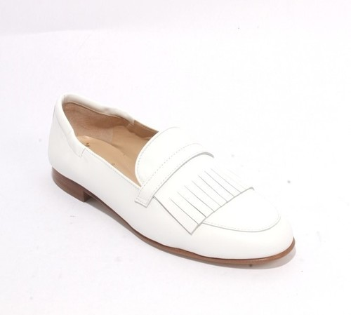 White Leather Slip On Loafers Fringe Flats Shoes