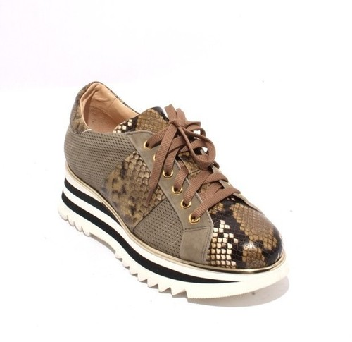Multicolor Leather Lace-Up Platform Sneaker Shoes