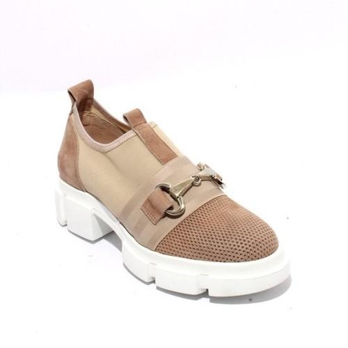 Beige Suede Leather Elastic Mesh Platform Sneaker