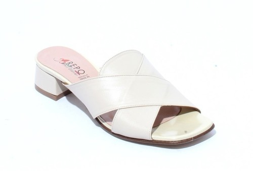 Beige Leather Comfort Slides Heels Sandals