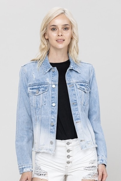 Classic Fit Cropped Jacket Dip Dye Denim