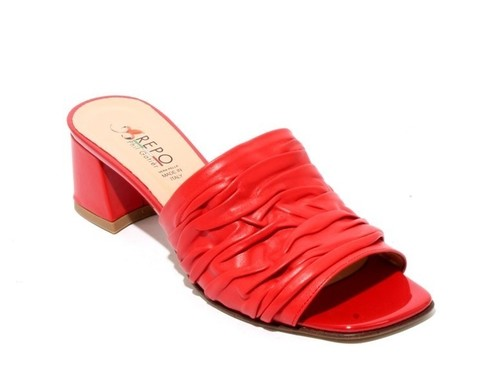 Red Leather Comfort Slides Heels Sandals