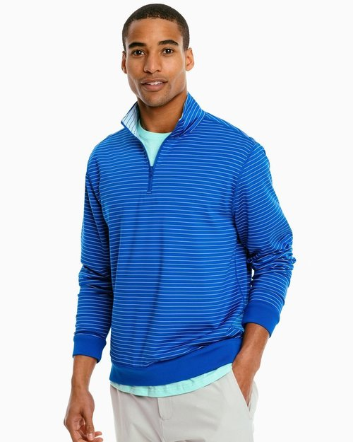 Southern Tide Blue Cove Sangrillo Striped Reversible Pullover