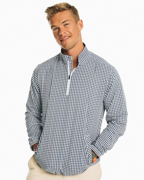 Southern Tide Yacht Blue Gingham QrtrZip Pullover