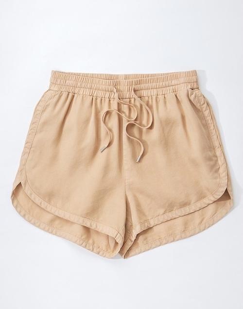 Tencel Denim Draw String Shorts Camel