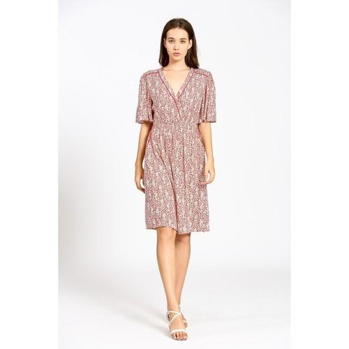 V Neck Dress W/ Detailed Print Off White/Red