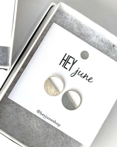 Half & Half Circle Studs Silver