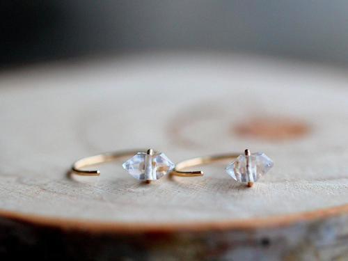 Saressa Herkimer Diamond 14k Gold Fill Hug Hoops