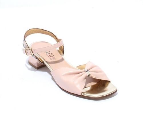 Pink Leather Comfort Heels Sandals