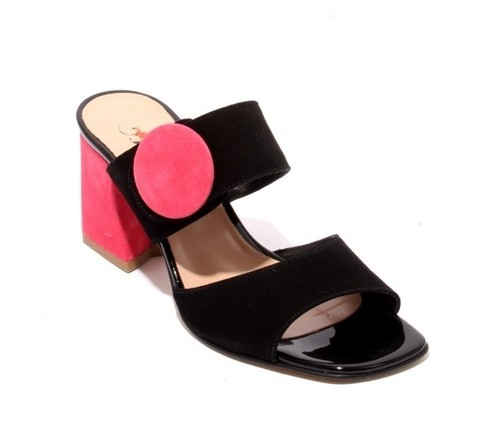 Black / Pink Suede Slides Heels Sandals