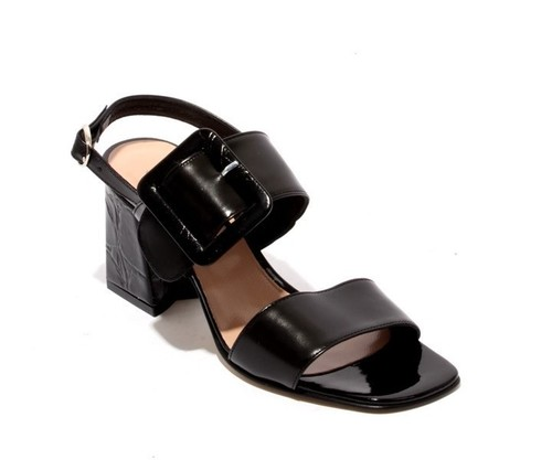 Black Leather Slides Heels Sandals