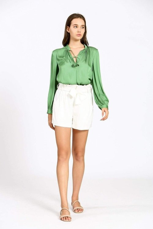 Solid Blouse W/ Neck Tie Detail Green