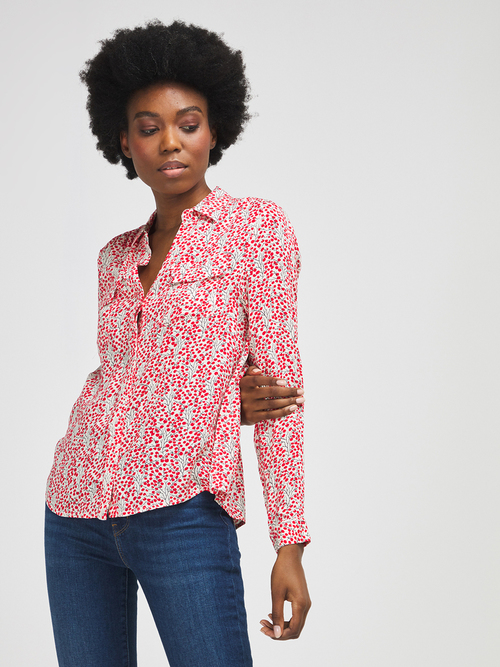 Detailed Print Button Up Blouse Off White/Red