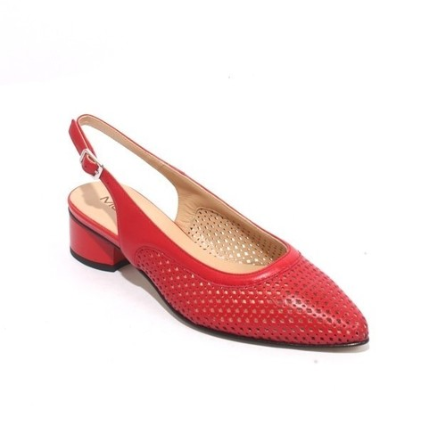 Red Leather / Patent Pointy Slingbacks Heels Sandals