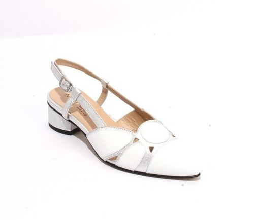 White / Silver Leather Pointy Slingbacks Heels Sandals
