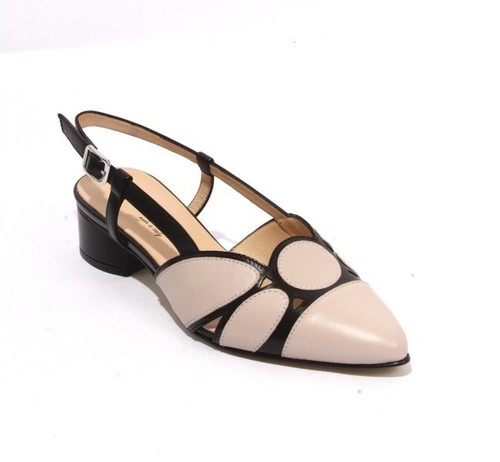 Beige / Black Leather Pointy Slingbacks Heels Sandals