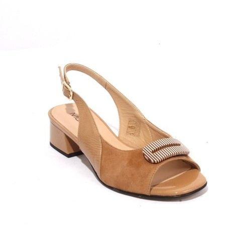 Beige Suede / Patent Leather Slingbacks Heels Sandals