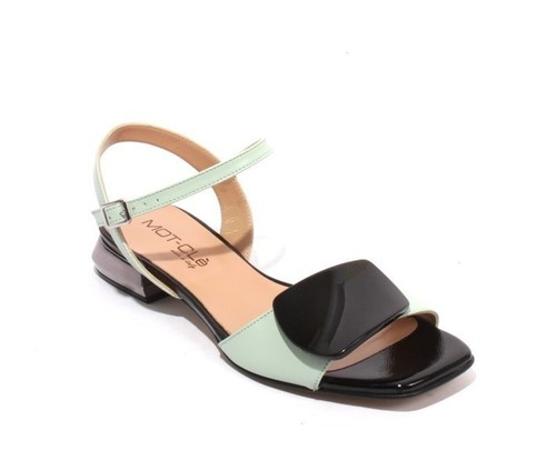 Green / Black Leather / Patent Leather Ankle Strap Buckle Sandals