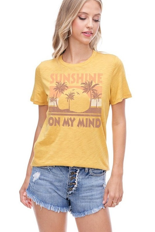 Sunshine On My Mind Graphic Tee Mustard