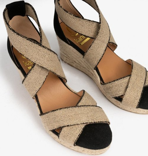 Black & Gold Elastic Wedge