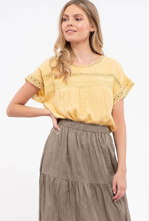 Dotted Lace Detail Blouse Honey