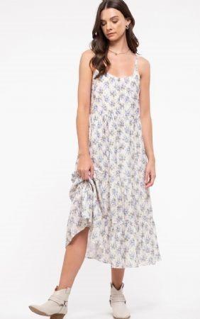 Tiered Floral Print Midi Dress Ivory