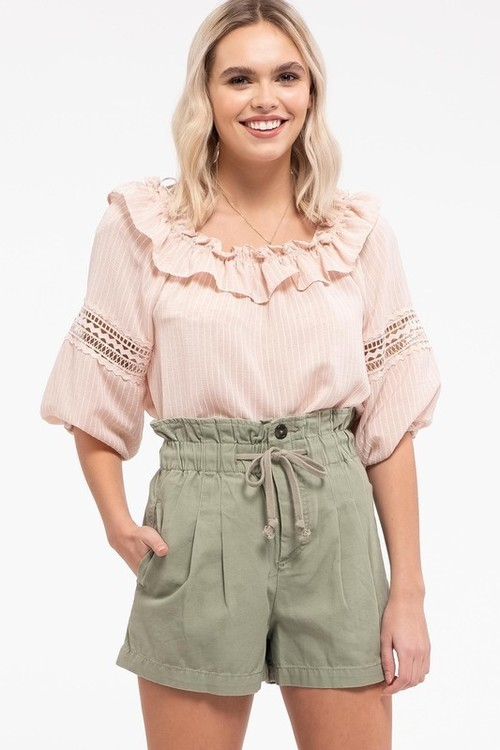 Textured Stripe Lace Inset Ruffle Neck Blouse Blush