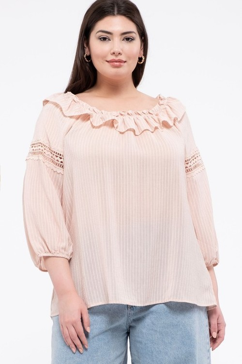Textured Stripe Lace Inset Ruffle Neck Blouse Blush