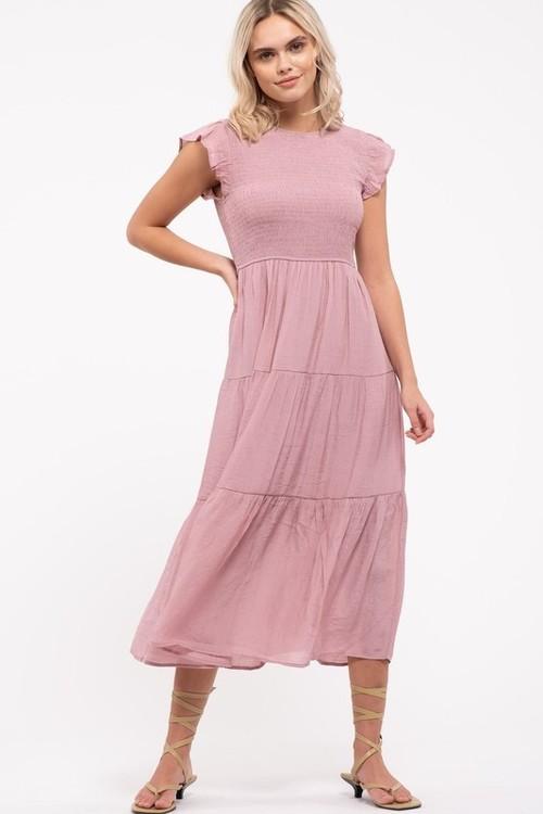 Tiered Midi Dress Dusty Pink