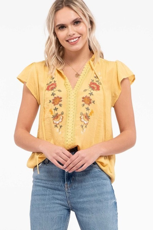 Floral Embroidery Lace Inset Top Mustard