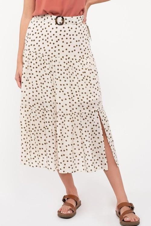 Tiered Polka Dot Midi Skirt Ivory