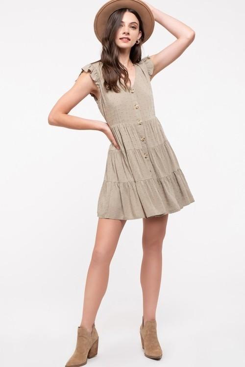 Flutter Sleeve Button Front Dress Light Olive