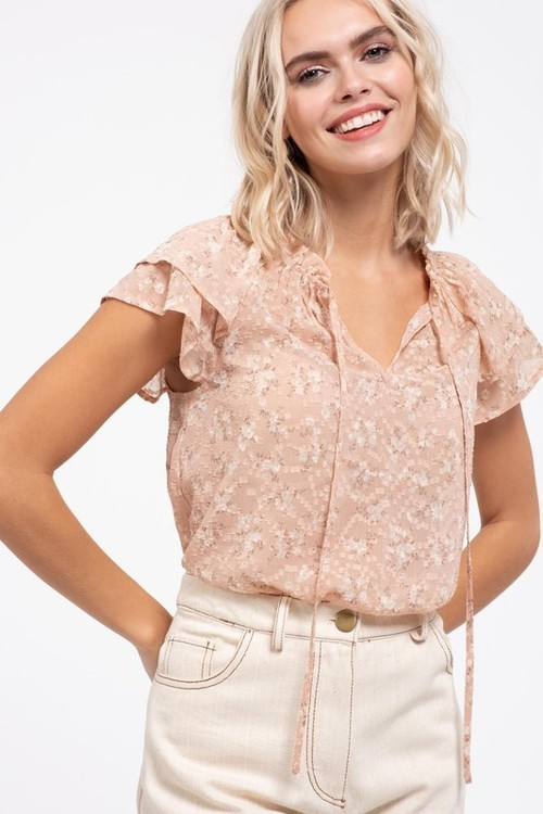 Floral Ruffle Sleeve Tie Neck Blouse Blush