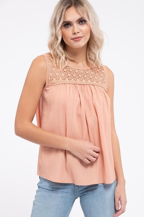 Round Neck Lace Detail Sleeveless Blouse Apricot