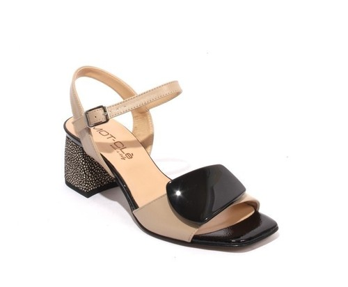 Beige / Black Leather Ankle Strap Buckle Heel Sandals