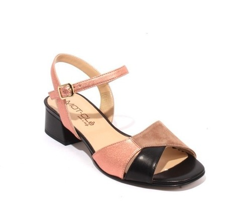 Multicolor Leather / Suede Ankle Strap Heel Sandals