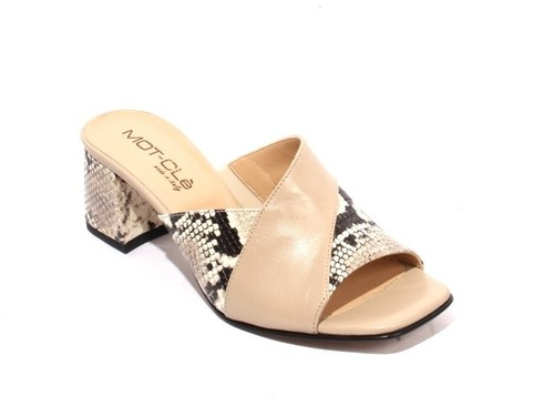 Beige Animal Print Leather Elastic Slide Heel Sandals