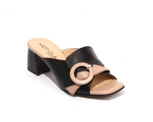Black / Beige Leather Buckle Slides Heel Sandals
