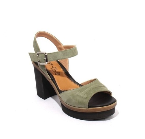 Green / Black Suede Ankle Strap Platform Heel Sandals