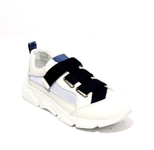 White / Navy Leather Mesh Lace-Up Wedge Shoes Sneakers