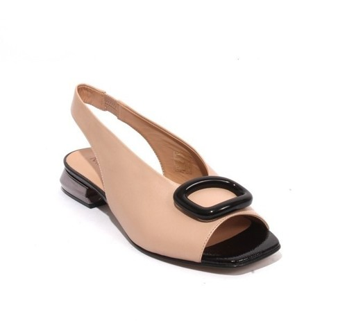 Beige / Black Leather Patent Ankle Strap Buckle Sandals
