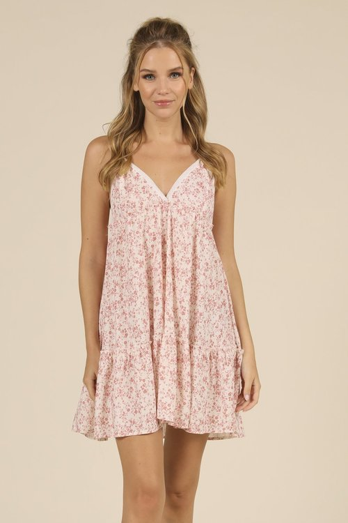 Ocean Drive Floral Printed Ivory/ Pink Ditsy Dress