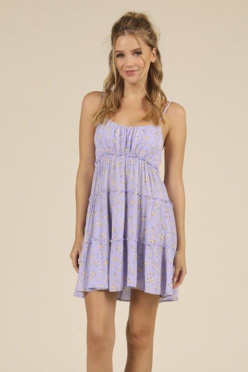 Ocean Drive Lilac Dusty Floral Tie Strap Ruffle Dress