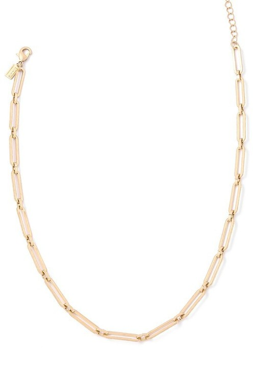 Dainty Paperclip Link Necklace Gold